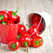 Red hot chilli peppers in little buckets — Stock Photo #59150057