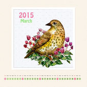 Calendar for march 2015 with bird — Stock Photo