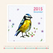 Calendar for november 2015 with bird — Stock Photo