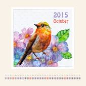 Calendar for october 2015 with bird — Stock Photo