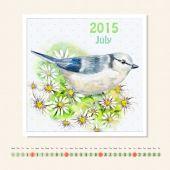 Kalender voor juli 2015 met bird — Stockfoto