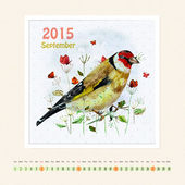 Calendar for september 2015 with bird — Stock Photo