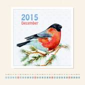 Calendar for december 2015 with bird — Stock Photo