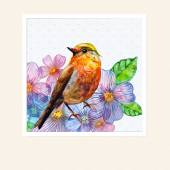 Watercolor card with a bird — Stock Photo