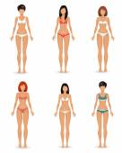 Collection Female body template — Stockvektor
