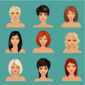 Collection of portraits a beautiful girls — Stockvector