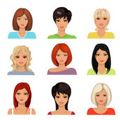 Collection of portraits  young women — Stock Vector