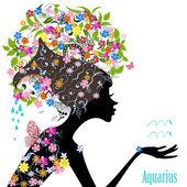 Zodiac sign aquarius. — Stock Vector