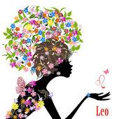 Zodiac sign leo. — Stock Vector