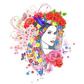 Woman with flowers in hair. — Stock Vector