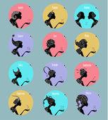 Zodiac signs  set — Stok Vektör