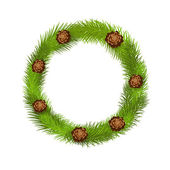 Wreath of pine twig — Stock Vector