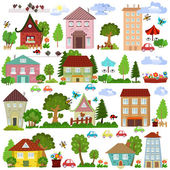Cartoon houses and trees — Stock Vector