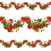 Christmas set seamless borders — Stock vektor