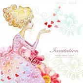 Greeting card with beautiful girl — Cтоковый вектор