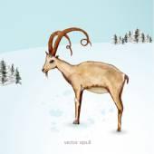 Goat in winter landscape — Vecteur