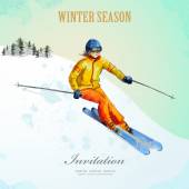 Poster with fashion girl skiing — Stock vektor
