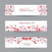 Banners with pink flowers — Stockvektor