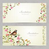 Invitation cards with foliate ornament — Stock Vector