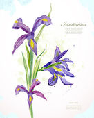 Invitation card with watercolor flowers — Stockvektor