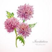 Invitation card with chrysanthemum — Stok Vektör