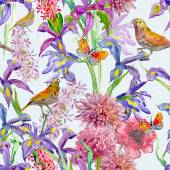 Floral  background with birds — Stock Photo