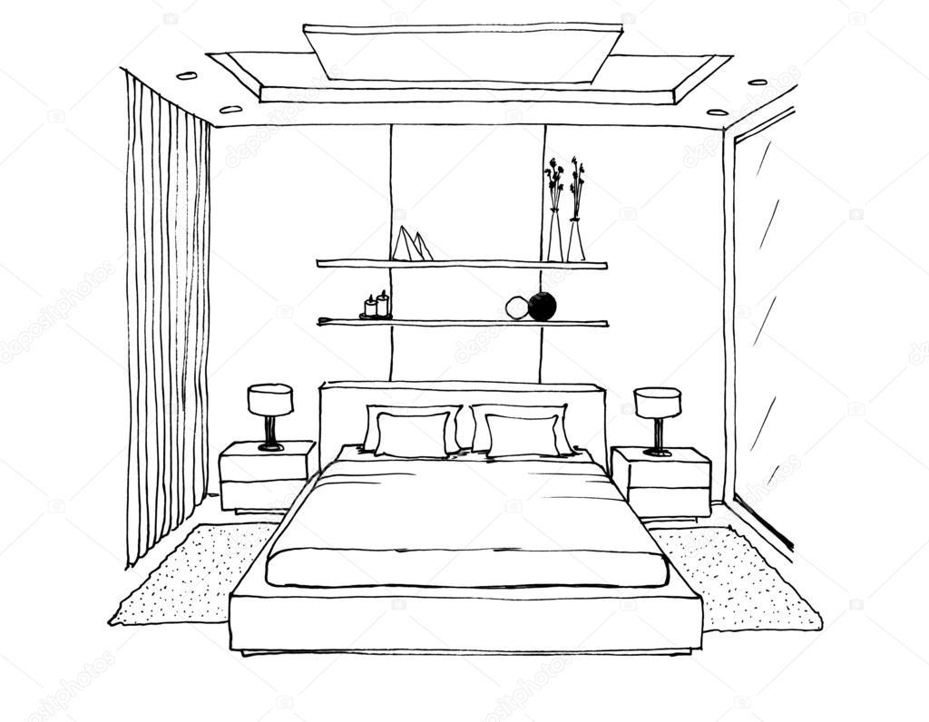 Dibujo gr fico de una habitaci n interior foto de stock - Habitacion para colorear ...