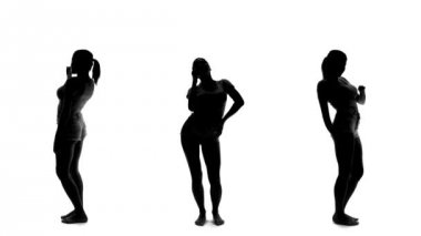 Silhouette of beautiful sexy woman dancing — Vidéo