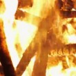 Charming bonfire flame blazing in the night, closeup view — Stock Video #68634089