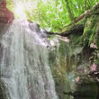 Forest waterfall falling on rocky cliff in sunny summer day with sudden rain — Stock Video #68724259