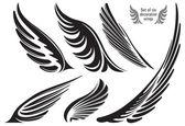 Six decorative wings — Stock Vector