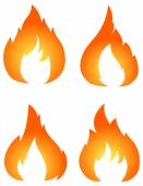 Set of four vector fires — Stock Vector