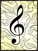Musical decor with treble clef — Stock Vector