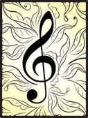 Musical decor with treble clef — Wektor stockowy