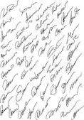 Collection of fictitious contract signatures — Stock Vector