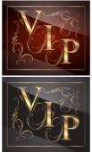 Gold captions VIP — Stock Vector