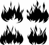4 black fires — Stock Vector