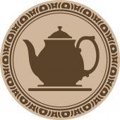 Teapot into decorative round frame — Stock Vector