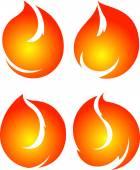 Set of 4 fires — Stock Vector