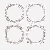 4 elegant caligraphic round frames — Stock Vector