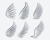 Outlined stroke wings — Stock Vector