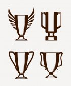 Champion cups icons — Stock Vector