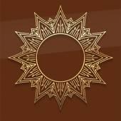 Gold lace star decorative mandala — Stock Vector