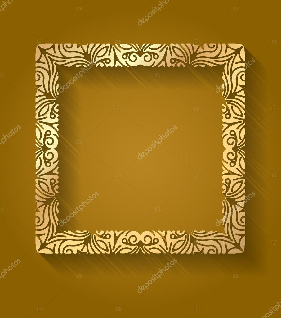 beauty gold square frame with shadow and highlight on dark brown background for your design vector illustration with empty place for your text vector by