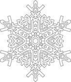 Contornos de floco de neve em estilo de linha mono — Vetor de Stock