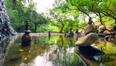 Meditate spiritual landscape of green forest with calm pond water and stone balance rocks — Stok fotoğraf