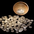 Treasure pot with ancient gold and silver coins money — Stock Photo #58662315
