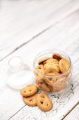 Bisquits on wooden background — Stock Photo