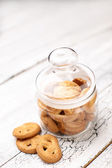 Bisquits on wooden background — Stok fotoğraf