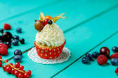 Cupcakes with summer berries — Stock Photo